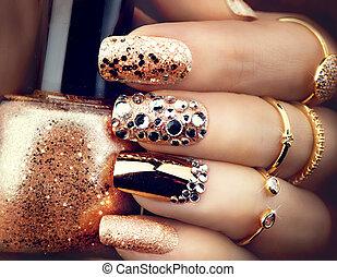 jóias, dourado, estilo, acessórios, luminoso, sparkles., ...