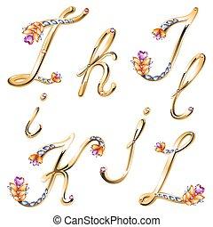 jóias, letras, colorido, alfabeto, i, bronze