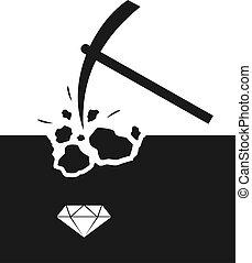 jóias, mina, ilustração, procurar