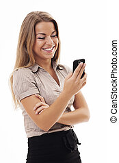 jókedvű, üzletasszony, texting, képben látható, mobile telefon