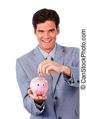 jókedvű, üzletember, takarékbetét pénz, alatt, egy, piggy-bank