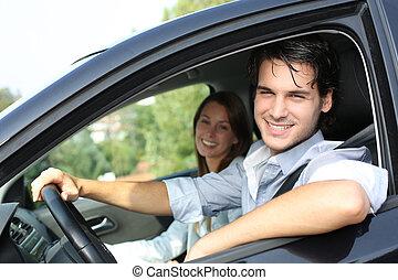 jókedvű, autó, párosít, vezetés