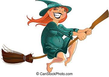jókedvű, boszorkány, seprű, öreg