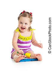 jókedvű, csecsemő lány, játék, noha, musical apró