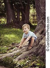 jókedvű, fiú, játék, a parkban