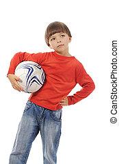 jókedvű, fiú, noha, egy, focilabda