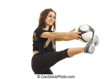 jókedvű, fiatal lány, játék futball, noha, labda