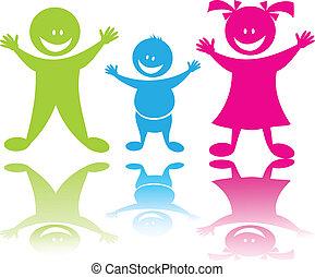 jókedvű, gyerekek, boldog
