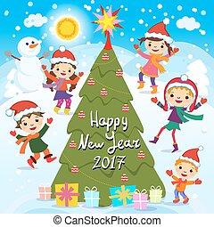 jókedvű, gyerekek, csoport, tél, boldog, ábra, játék, snow., 2017., year., vektor, szent, új, fun., kalap, gyerekek, piros, részvény