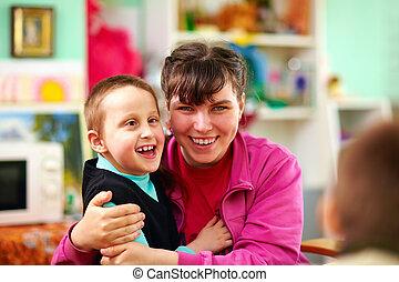 jókedvű, gyerekek, noha, disabilities, alatt, rehabilitáció,...