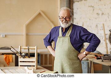jókedvű, hajlandó, idősebb ember, munka, polgár
