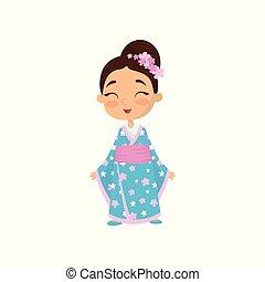jókedvű, kicsi lány, noha, virág szőr, fárasztó, hagyományos, japán, dress., gyermek, blue kimono, noha, rózsaszínű, belt., lakás, vektor, tervezés