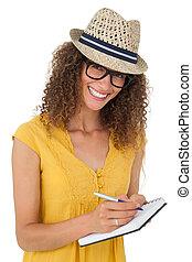jókedvű, kisasszony, írás, alatt, notepad