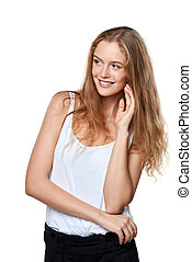 jókedvű, portré, mosolyog woman, fiatal