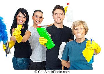 jókedvű, takarítás, munkás, befog, szolgáltatás