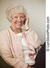jókedvű, telefon woman, öreg