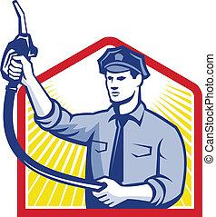 jóquei, gás, bocal, bomba gasolina, combustível, assistente