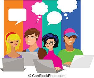 jóvenes, con, discurso, burbujas, y, computadoras