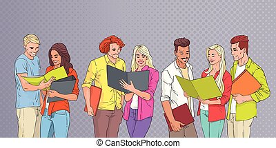 jóvenes, grupo, estudiantes, lectura, encima, arte pop, colorido, retro, plano de fondo