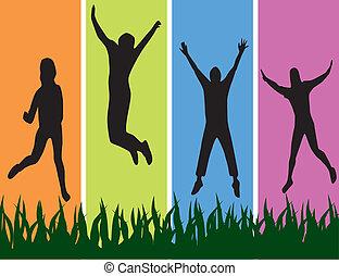 jóvenes, jumpping.