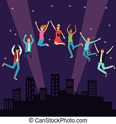 jóvenes, saltar, en, ciudad, noche