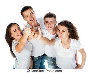 jóvenes, sonriente