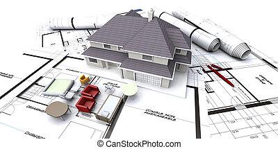 jövő, épület, tervezés