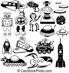 jövő, fekete, retro, ikonok