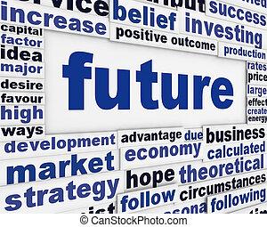 jövő, fogalom, üzenet, háttér