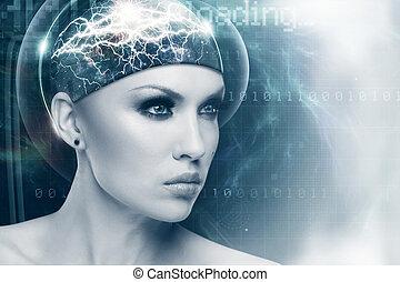 jövő, nő, elvont, sci-fi, női, portré, helyett, -e, tervezés