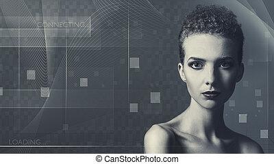 jövő, technológia, és, tudomány, női, portré, helyett, -e, tervezés
