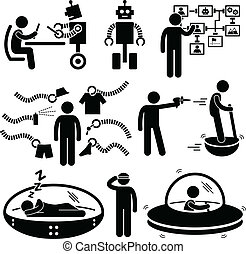 jövő, technológia, robot, pictogram