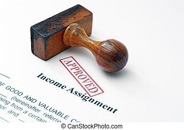 jövedelem, átruházás, -, jóváhagyott