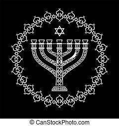 jødisk, menorah, religiøs, baggrund, vektor
