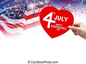 július, boldog, nap, szabadság, 4