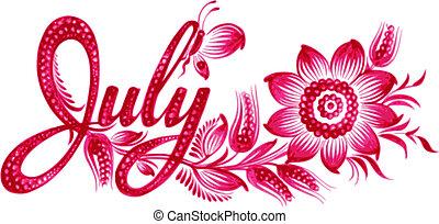 július, név, hónap