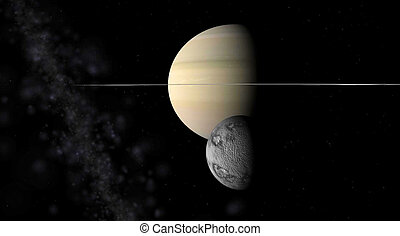 júpiter, con, un, luna