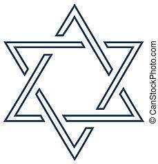 jüdisch, design, weißes, vektor, stern