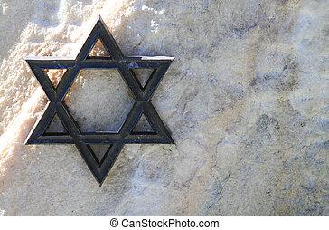 jüdischer stern, metall, friedhof, weißes, davids, stone.,...