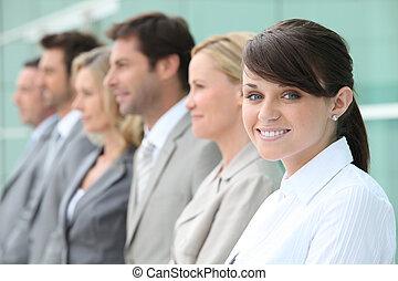 jüngsten, Angestellte, linie, Auf, Fokus