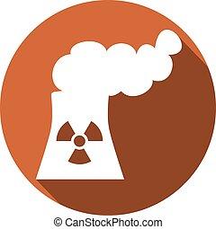 jądrowa roślina, płaski, moc, ikona