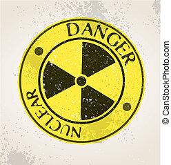 jądrowy, grunge, znak