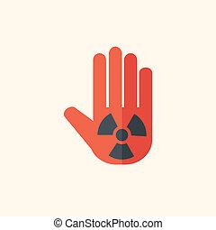 jądrowy, płaski, ikona
