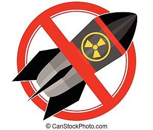 jądrowy, rakieta, znak