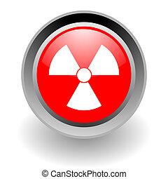 jądrowy, stal, glosssy, ikona