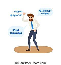 język, faul, words., kiepski, przysięgać, zachowanie