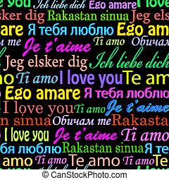 języki, miłość, ty, różny