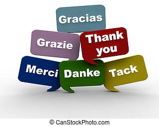 języki, różny, ty, dziękować