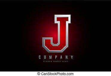 j, アイコン, 灰色, 赤, 手紙, デザイン, 金属, アルファベット, 会社, ロゴ, 金属, 3d