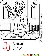 j, ジャガー, 裁判官, 本, 着色, アルファベット, abc